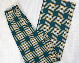 70s Plaid Pants   70s Flared Pants   1970s Pants   Plaid Pants   Plaids Flared Pants   70s High Waist Pants   70s Green Pants   28 Waist