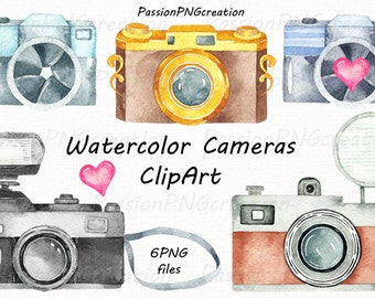 Watercolor Cameras Clipart, Watercolor photocamera, retro camera clip art, love, logo, PNG, For Personal and Commercial Use