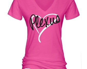 Plexus Heart Hot Pink Essential Slub V-Neck Tee - 70120DW