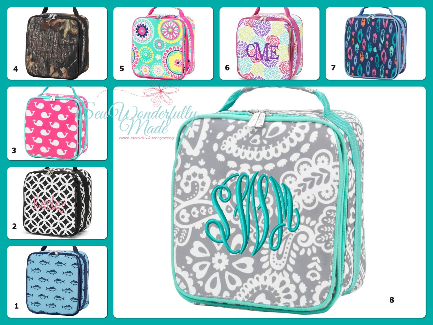 monogrammed lunch box boys lunch box girls lunch box. Black Bedroom Furniture Sets. Home Design Ideas