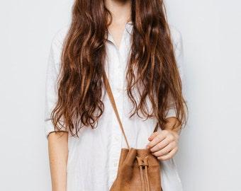 Brown leather bucket bag,Brown shoulder bag,Leather drawstring bag,Leather crossbody bag