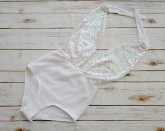 Swimsuit High Waisted Vintage Style - Mermaid Holographic Sequin Sparkle Backless Bathing Suit - Honeymoon Bachelorette Swimwear