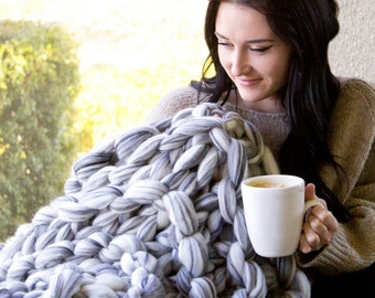 "READY TO SHIP Super Chunky Knit Merino Blanket, 40"" x 50"", Chunky Wool Blanket, Merino Blanket, Giant Knitting, Extreme Knitting"