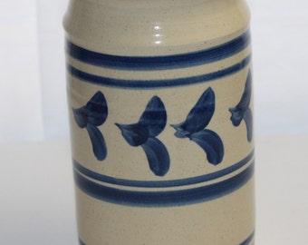 Stoneware Salt Glazed Pottery Cobalt Blue Utensil Crock Signed PERFECT