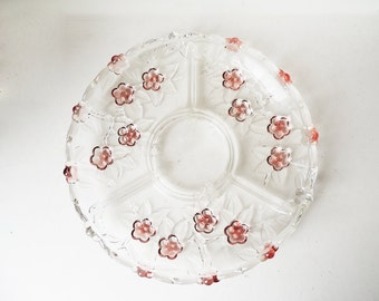 Serving Plate Clear Glass Pink Flowers Snacks Dish 31 cm / 12.2 inch