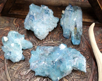 Aqua Aura Crystal Cluster - Large Size - Wire wrapping, crystal grid, energy stone - amazing color (RK75B4-01)