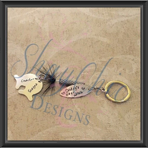 Fishing lure keychain with personalized message and fish names for Names of fishing lures