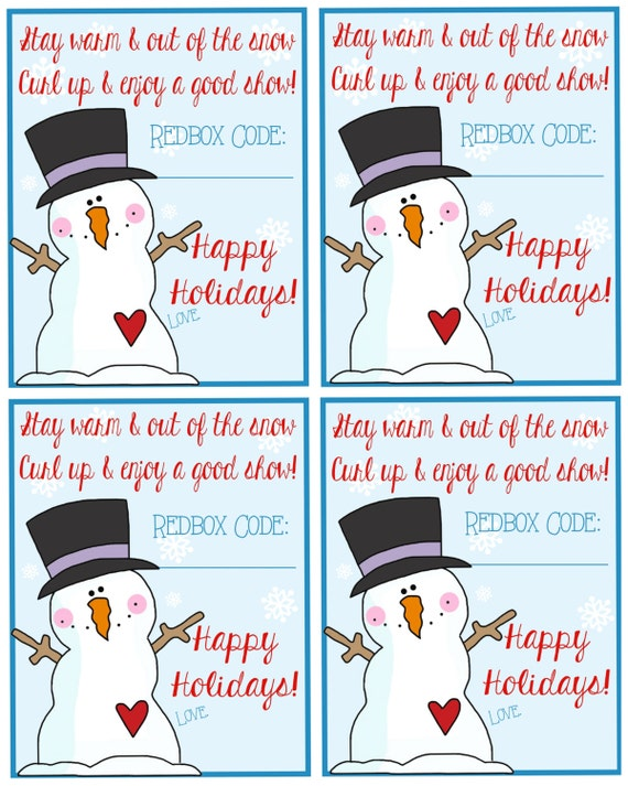 Printable Holiday Redbox Gift Tags Stay by Pinkowlpartydesign