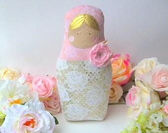 Babushka doll, Matryoshka doll, Shabby & chic doll. Blush and lace fabrics. Russian nesting doll for home, nursery decor. Beautiful gift