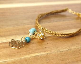 iber Charm bracelet, Golden Grass Bracelet, Acai beads, Organic Bracelet, Acai bracelet, Flower charm bracelet