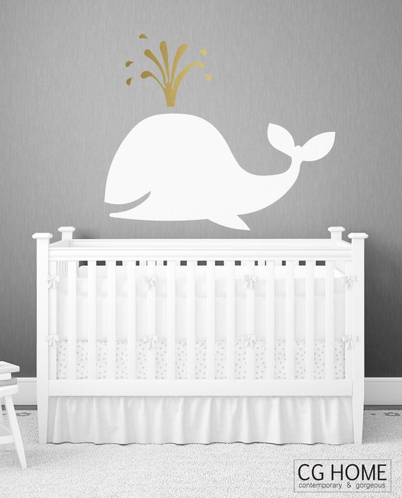 Gold Fish scandinavian gold WHALE pattern Animals Shadow Nursery Big Fish Decals Stickers Washable Wall Decal vinyl sticker CGhome Christmas