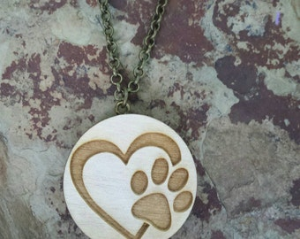 "Essential Oil Diffuser Necklace - Paw Print and Heart Design with 24"" Chain"