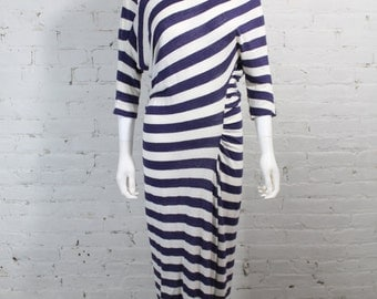 1990s Vivienne Westwood Anglomania Dress Navy and White Striped Rouched Asymmetrical Linen M