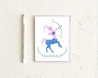 Sagittarius Card, Astrology Card, Zodiac Card, Zodiac Birthday Card, Sagittarius Birthday, Astrology Gift, Sagittarius Art, Zodiac Sign