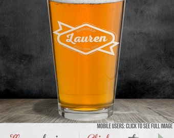 Etched Pint Glass – Wedding Party Gifts