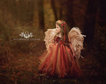 Woodland Fairy dress/ Red & gold fairy tutu/ Leaf fairy dress / Fairy gown