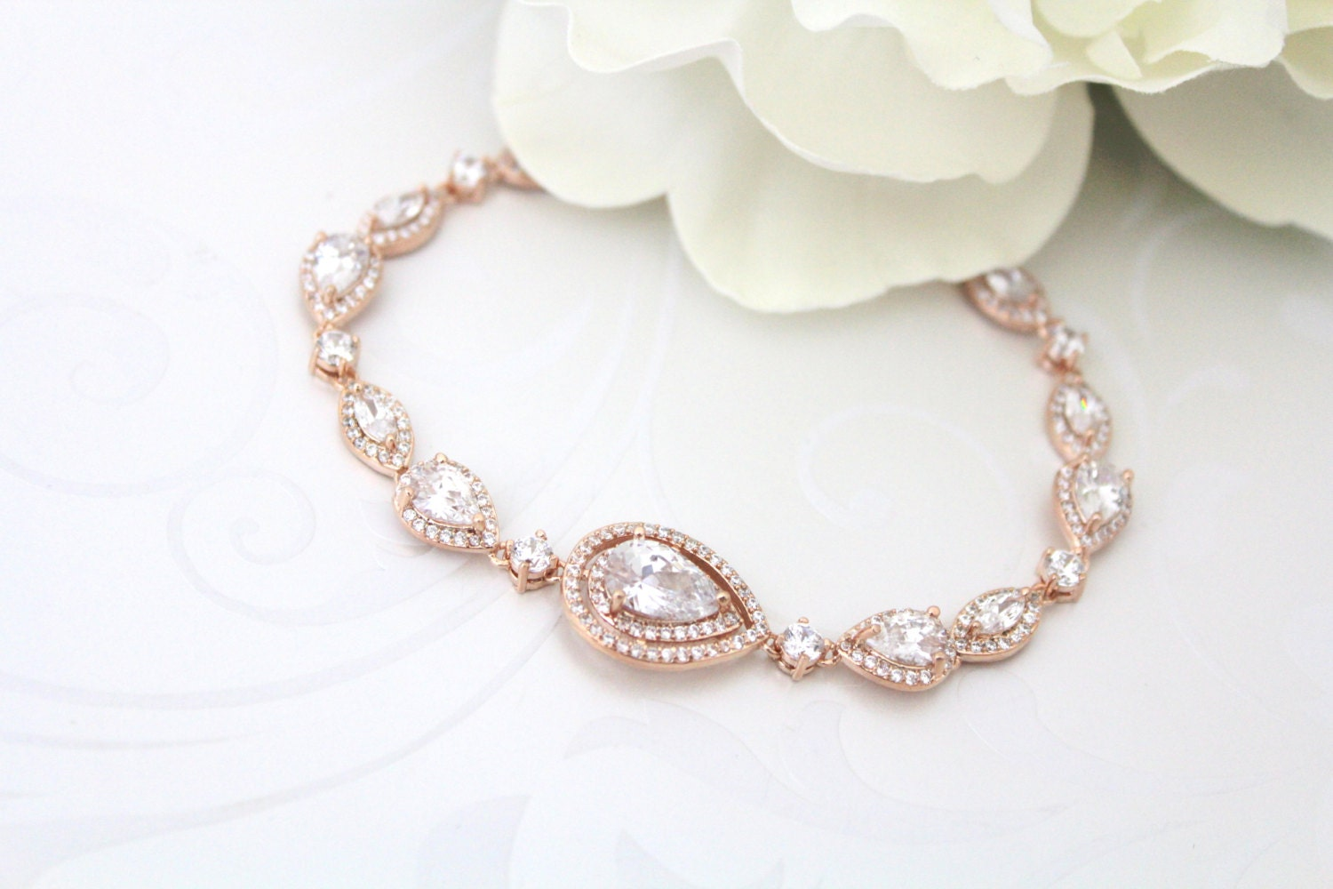 Rose Gold Bracelet Crystal Bridal Bracelet Wedding Jewelry