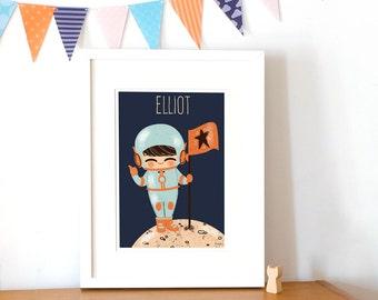 custom art print for kids  -  The Little Cosmonaut