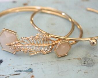 Bangles- Gold Plated Bangle Bracelet Set, Minimalist Bracelets. Gold Minimalist Bracelets