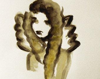 Angel Watercolor, Original Painting on Paper,Guardian Angel, Spiritual art, Angel Art, Gift for Her, Birthday Gift