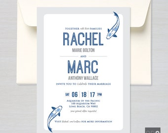 Modern Koi Fish - Customizable Save-the-Date, Shower, Wedding, or Event Invitation