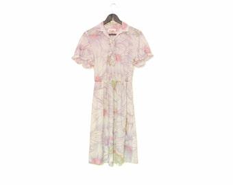 Light Pastel Summer Dress, Vintage Short Sleeve Floral Dress