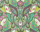 SALE Slow & Steady The Hare Fabric Half Yard or By-The-Yard; Tula Pink PWTP084-Straw; Free Spirit Fabrics; Strawberry/Kiwi