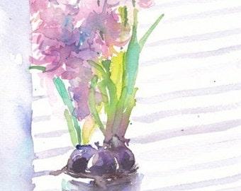 Pink hyacinths. Original watercolour.