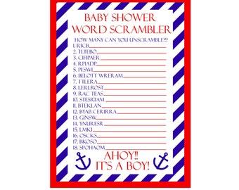 Baby Shower Word Scramble / Baby Shower Scramble / Nautical Baby Shower  Games Printable / Baby