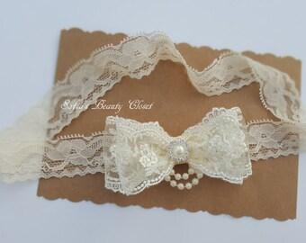 Lace headband. Lace headband baby. Cream headband. Ivory flower girl headband.  Wedding headband. Ivory bow headband. Lace headpiece