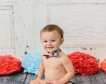Baby Boy's Plaid Cake Smash Set with Diaper Cover and Bow Tie - F74