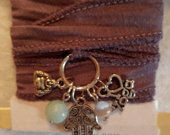 Yoga Wrap Bracelet, Lavender Ribbon Wrap Bracelet, Yoga Bracelet,