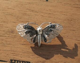 vintage Art deco era: antique filigree brooch, silver, rhodanized, marcasites, handcrafted