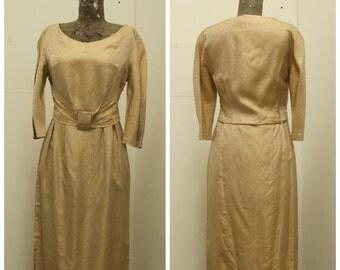"CHIC 1950's ""Elegant of Berlin"" Gold Satin Brocade Dress - Mad Men - vlv  - Size M"