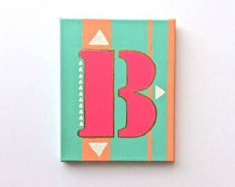 Letter Art, Letter Painting, Letter B, Nursery Letters, Nursery Letter Wall Art