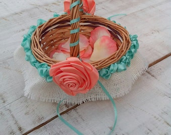 Wedding Basket - Flower Girl Basket - Wedding Flower Basket - Wedding Ceremony - Bridal Basket - Rustic Wedding Basket - Bridal Basket