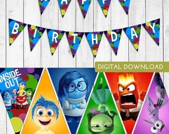 Inside Out Birthday Pennant Banner - Disney Pixar Inside Out Birthday Decorations