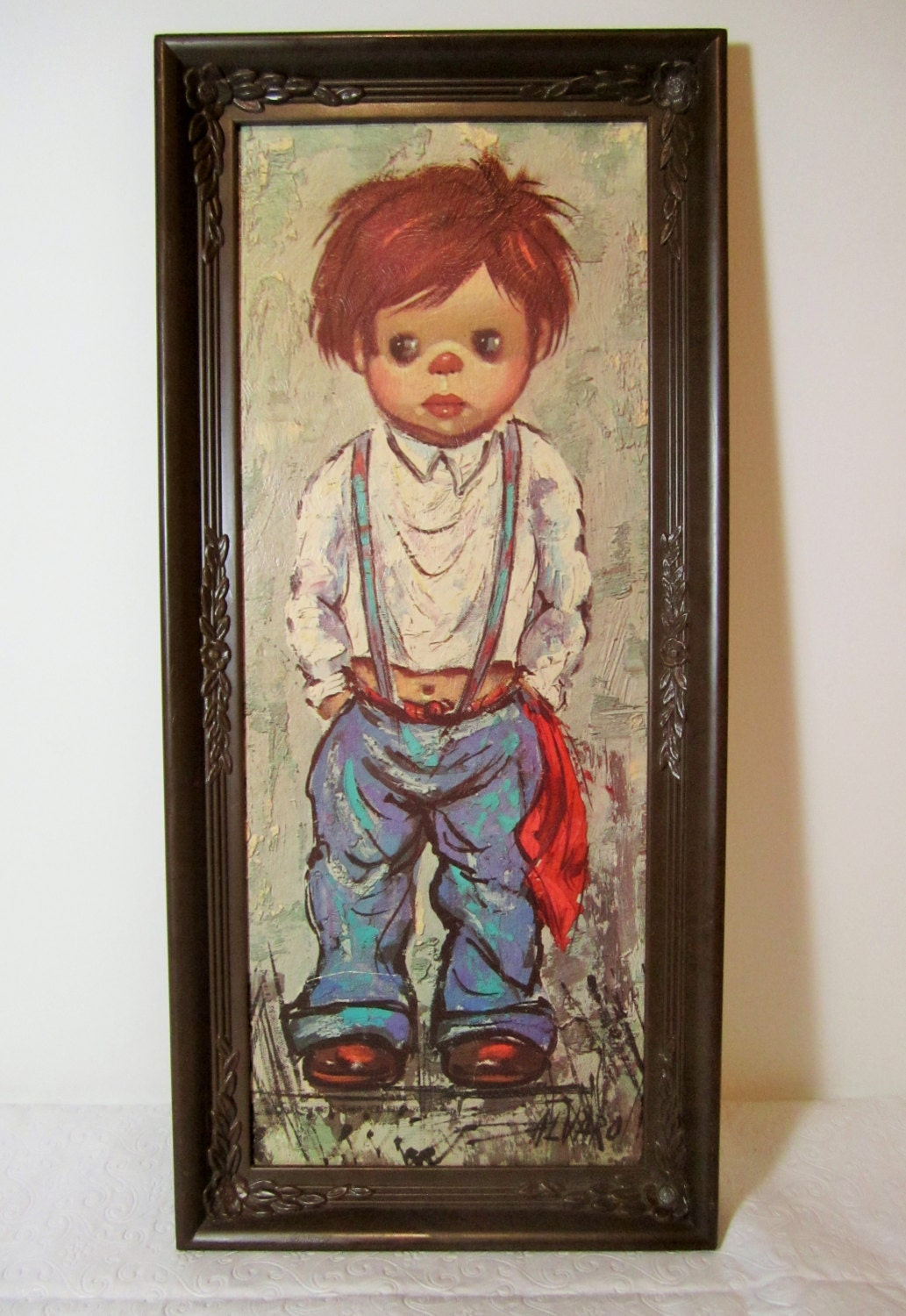 Vintage Alvaro Big Eye Child Gypsy Boy Art Print Big Eyes