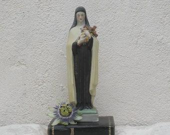 French vintage bisque religious figurine, porcelain religious figurine, Virgin Mary figurine, Madonna figurine, Catholic religious statue