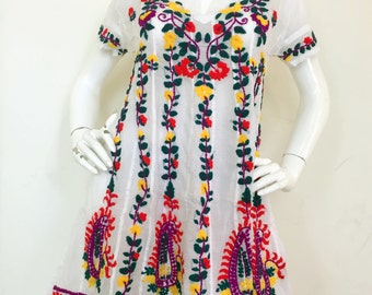 Embroidered Mexican Style Tunic-White