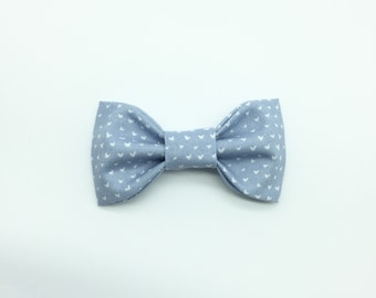 Soft Gray Blue and White Hearts Bow Tie Hair Clip or Clip On Bow Tie: Perfect for girls or boys! Spring Bow Ties