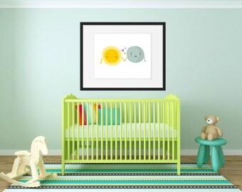 Nursery Room Decor - Happy Weather - Nursery Print - Home Decor - Kids Bedroom Art - Kids Room Decor - Nursery Art Print - Sun and Moon