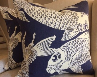 Manuel Canovas Pillow Cover in Navy Calypso Pattern, Indoor/Outdoor Acrylic, White Woven Backing