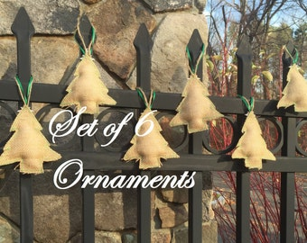 6 Rustic Christmas Tree Ornaments Primitive Christmas Ornaments Burlap Christmas Ornaments Burlap Tree