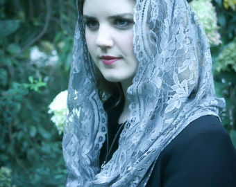 Evintage Veils: Our Lady Queen of Peace Silver Gray  French Lace Infinity Veil Chapel Veil Mantilla