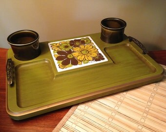 Georges Briard serving tray cheese board with two cups