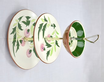 Vintage Stangl Thistle 3 Tier Serving Hostess Tea Tray Appetizer Hors D'oeuvres Dessert Jewelry Tray, Metal Handle, Tidbit Cupcake Stand