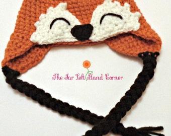 Crocheted Fox Earflap Baby Hat