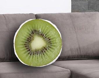 Kiwi slice Printed Pillow, Kiwi Lover Gift, Kiwi slice Print, Linen Throw pillow, Toss pillow, Decorative pillow, Food Pillow