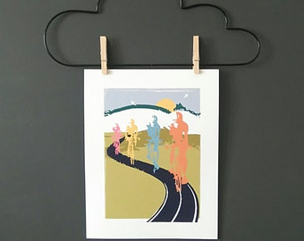 Cycling Art / Bicycle Print /  Giclee Cycling Print